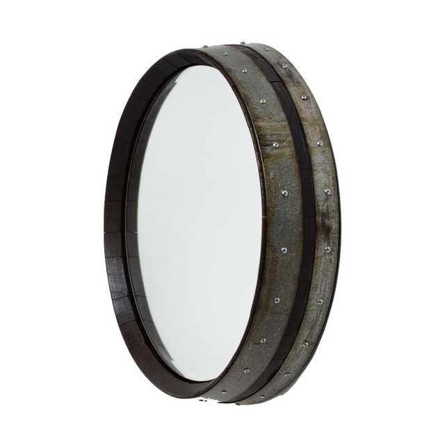 Dark Walnut Wine Barrel Mirror.