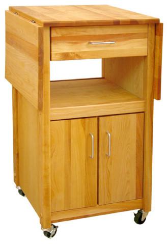 Hardwood Open and Enclosed Drop Leaf Kitchen Cart