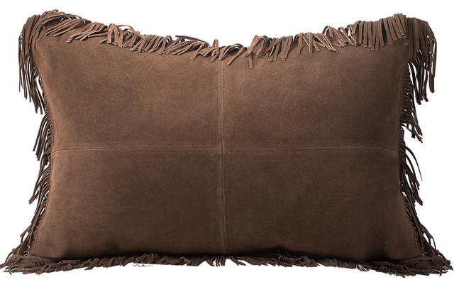 Coronado Suede With Fringe Feather-Down Lumbar Pillow - Southwestern - Decorative Pillows - by ...