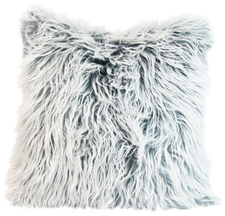 faux fur pillow cover white and gray
