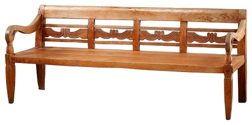 70L Florence Bench Hand Crafted Solid Teak Wood Hand Carved Detail Wax Finish