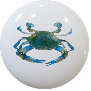 Blue Crab Ceramic Cabinet Drawer Knob