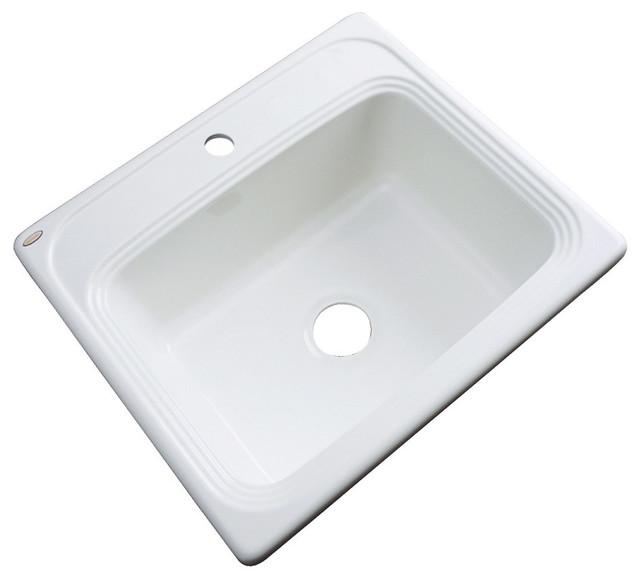 Dartmouth 1-Hole Kitchen Sink, White.