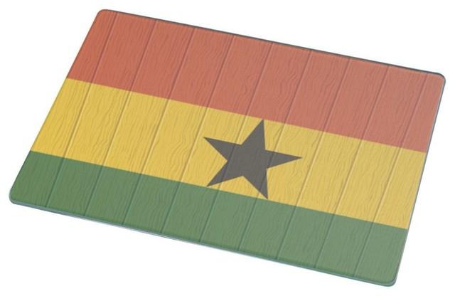 Ghana Flag On Distressed Wood Cutting Board