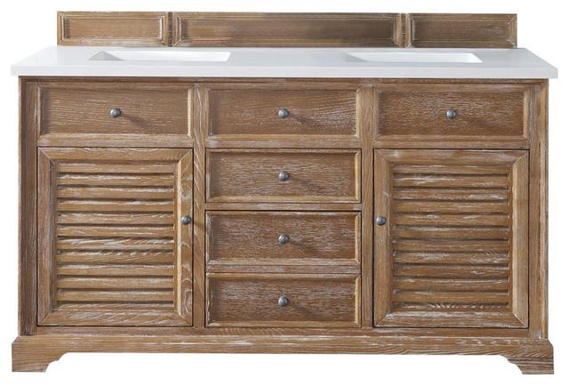 Savannah 60 Driftwood Double Vanity With 3cm Snow White Quartz Top.