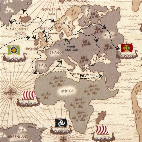off-white viking organic fabric with map boat route USA