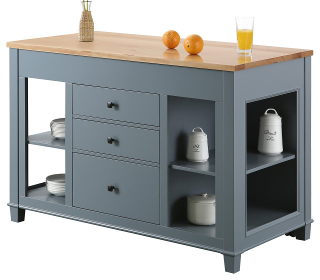 Medley Kitchen Island With Slide Out Table 54 Transitional Kitchen Islands And Kitchen Carts By Design Element