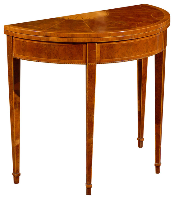 Consigned Vintage Demilune Game Table Traditional Game Tables