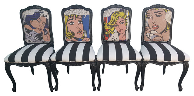 Pop Art Dining Chairs Set Of 4 Eclectic
