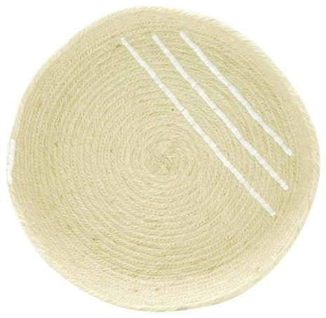 Jute Tray With White Accents, Medium