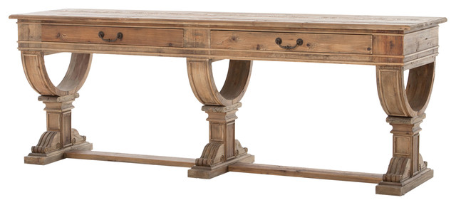 Sergio French Farmhouse Rustic Reclaimed Wood Console Table With Drawers