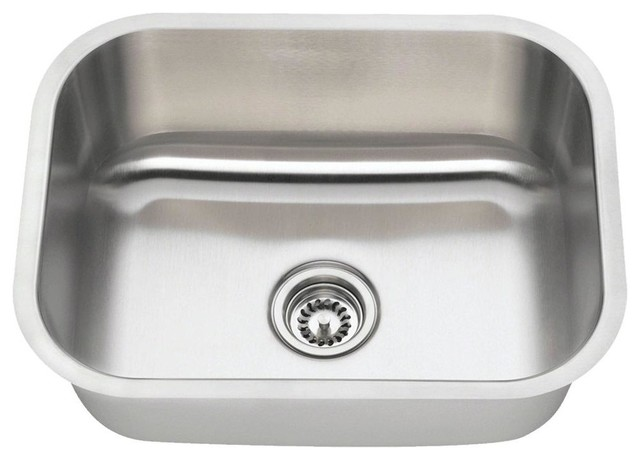 Single Bowl Stainless Steel Kitchen Sink, 18-Gauge, Sink Only