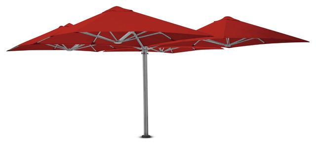 """8&x27;2"""" Square Quattro Red Umbrella, Ground Anchor."""