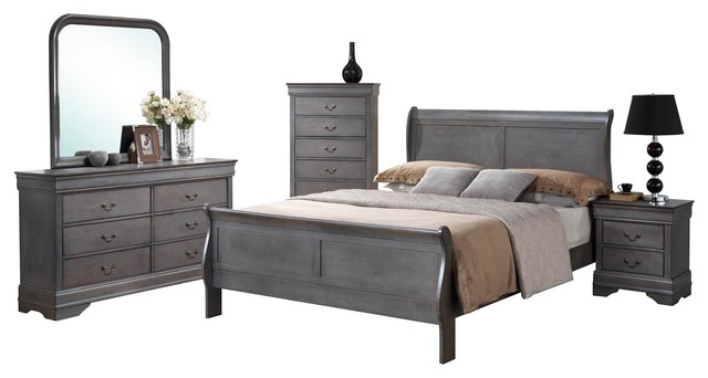 5 piece louis philippe driftwood gray sleigh bedroom collection driftwood gray traditional bedroom - Grey Bedroom Furniture Set