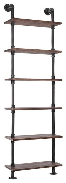 Industrial Display Storage Unit, Pine Wood With Iron Frame, 6-Compartment