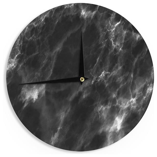 Chelsea Victoria Black Marble Modern White Wall Clock