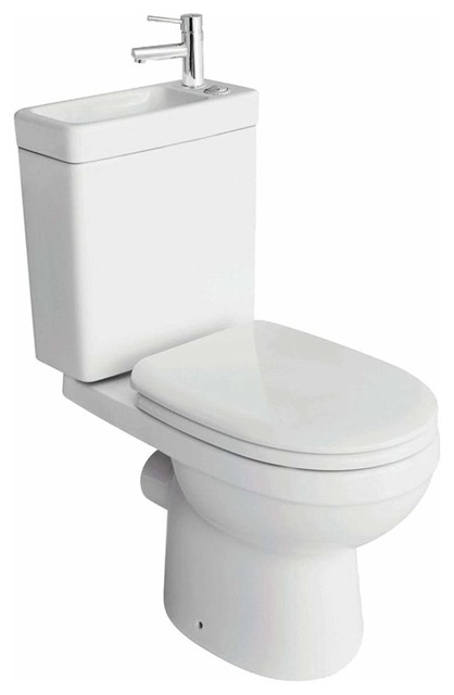 Combination Toilet and Sink Together, Ceramic With White Finish and Chrome Tap