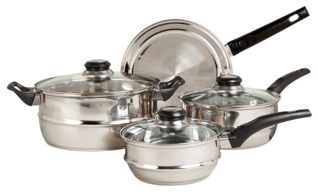 Gibson Sunbeam Ridgeline Stainless Steel 7-Piece Cookware Set.