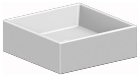 Square White Ceramic Vessel Sink, No Hole.