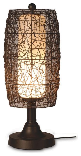 "Bristol 30"" Table Lamp, Random Weave Walnut Wicker Barrel Shade."