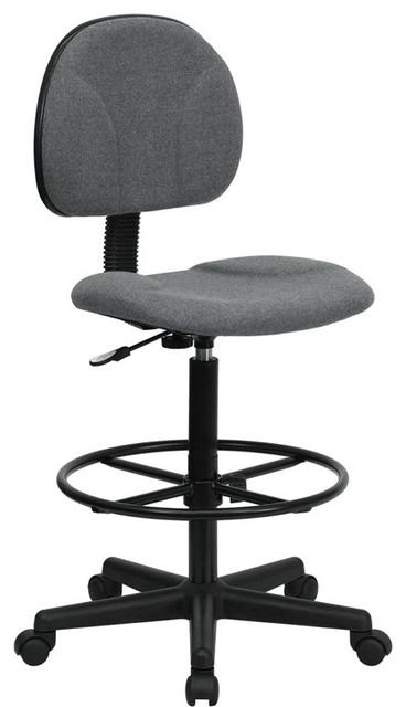 Gray Fabric Ergonomic Drafting Stool Contemporary Office Chairs