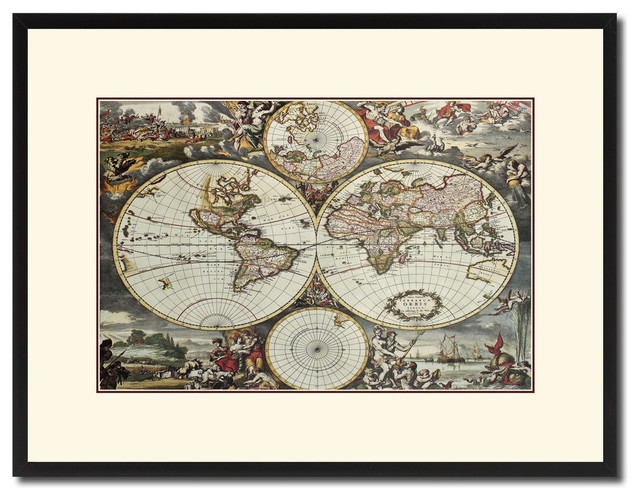 World Hemispheres Vintage Map Print On Canvas With Picture Frame 16