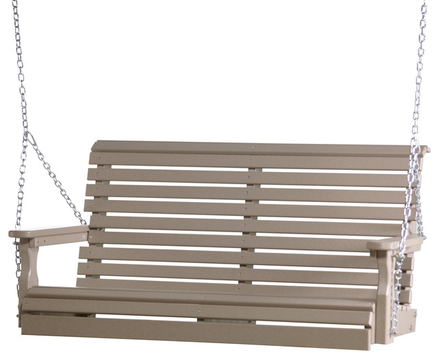 4' Poly Rollback Porch Swing, Weather Wood