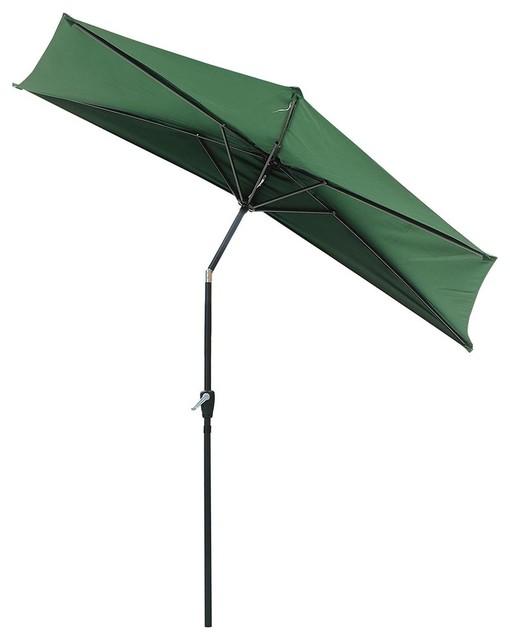 10' Patio Aluminum Half Umbrella With Base Stand Outdoor Wall Sun Shade  Green - 10' Patio Aluminum Half Umbrella With Base Stand Outdoor Wall Sun