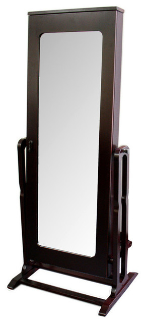 ore international 61 standing mirror with storage jewelry armoires houzz. Black Bedroom Furniture Sets. Home Design Ideas