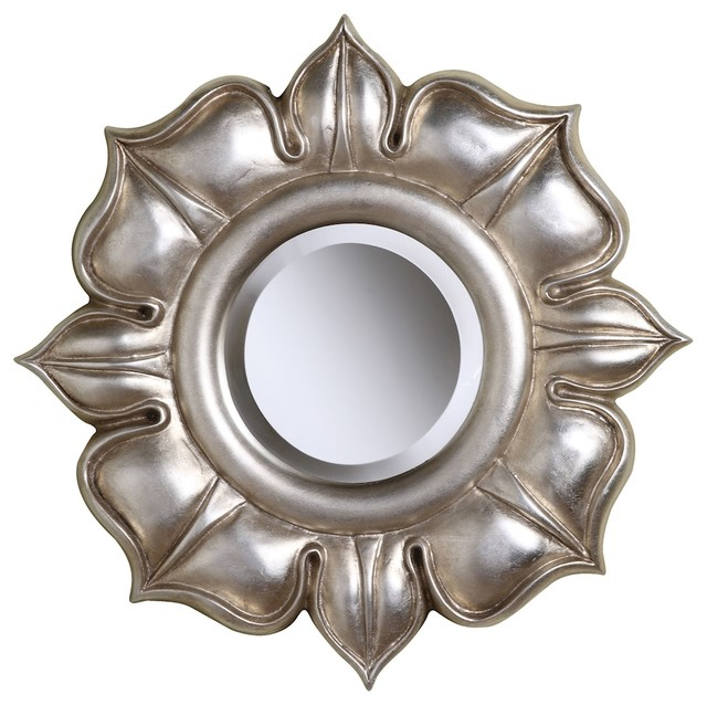 Sterling Furnishings Lotus Decorative Mirror, Bright Silver Leaf. -1