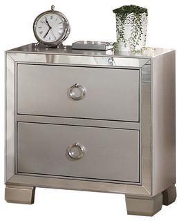 Voeville II Mirrored Nightstand, Platinum