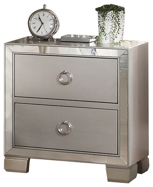 voeville ii mirrored nightstand platinum