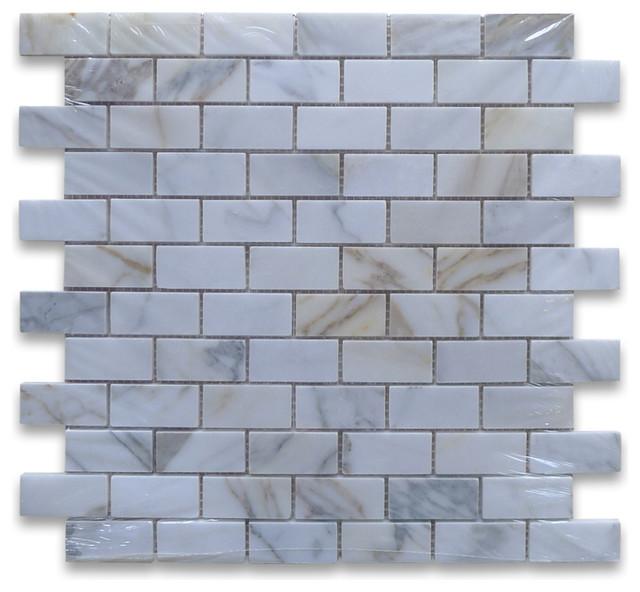 12 X12 Calacatta Gold Medium Brick Mosaic Tile Polished Chip Size 1