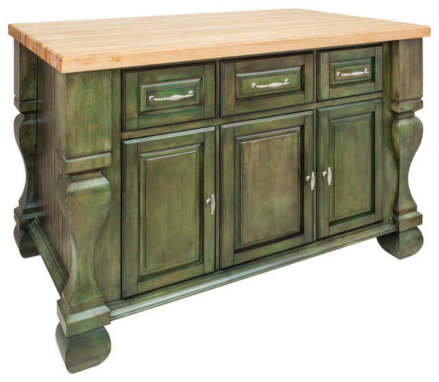 Antique Green Island With Three Drawers/Cabinets and Top - Antique Green Island With Three Drawers/Cabinets And Top