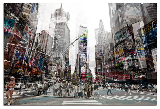 Tempered Glass Wall Art, 3D Times Square New York 4 Traditional Prints And