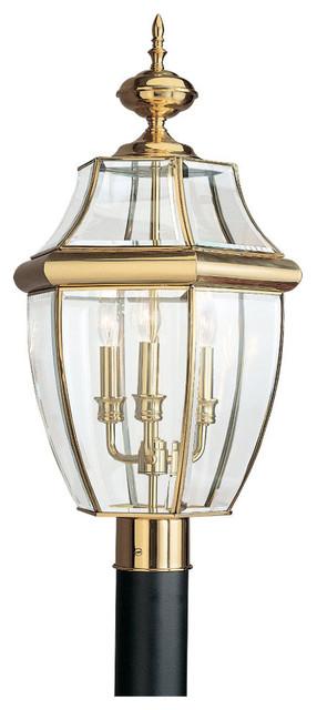 3-Light Outdoor Post Lantern, Polished Brass