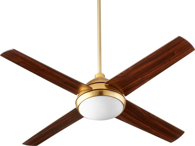 Quorum Quest 52 Led Fan, Aged Brass.