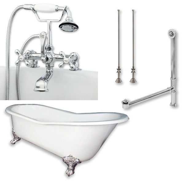 """Cast Iron Slipper Clawfoot Tub, Polished Chrome Plumbing Package, 67""""x30""""."""