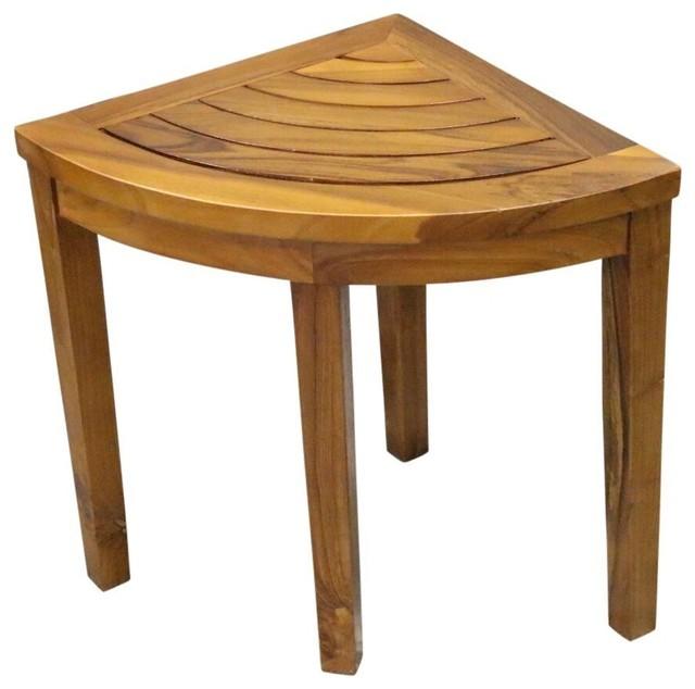 Alateak Corner Wood Bath Spa Shower Stool Table Bench Shelf Storage Embled