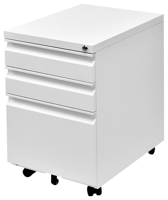 Ordinaire Modern 3 Drawers Rolling File Storage Cabinet, White
