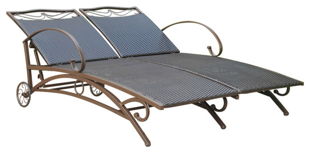 Valencia Resin Wicker/steel Multi Position Double Chaise Lounge,chocolate.