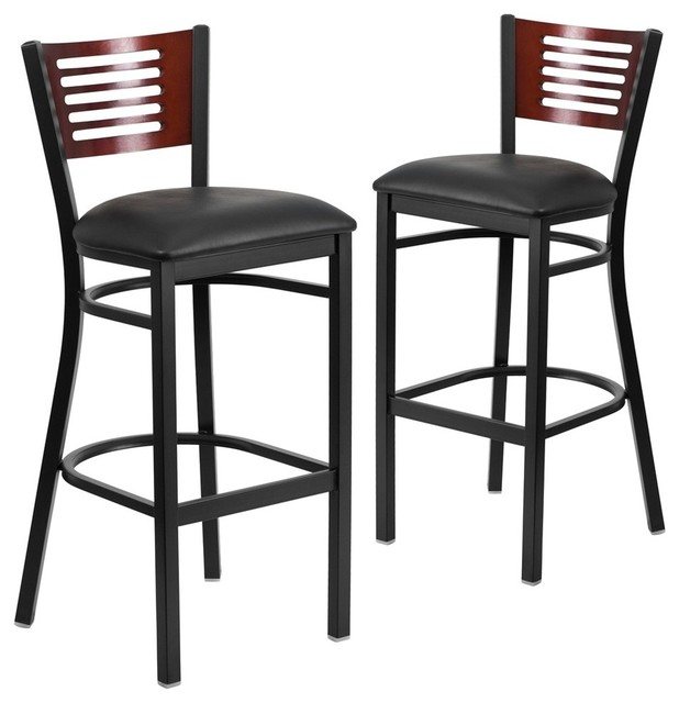 Fabulous Hercules Series Black Decorative Slat Back Metal Barstools Set Of 2 Squirreltailoven Fun Painted Chair Ideas Images Squirreltailovenorg