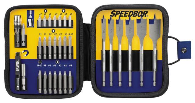 Irwin 3057031 Steel Fastener Drive Tool & Speedbor Bit Set 31 Count.