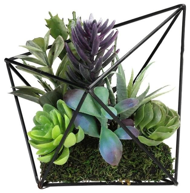 "6.75"" Artificial Succulents Arrangement in Decorative Diamond Metal Wire Frame"