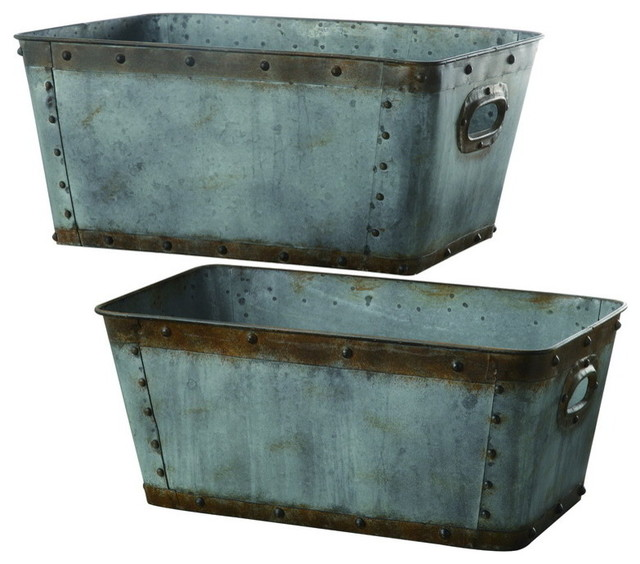 "crestview cvtra248 galvanized metal tubs., s: 20""h l: 22""h"