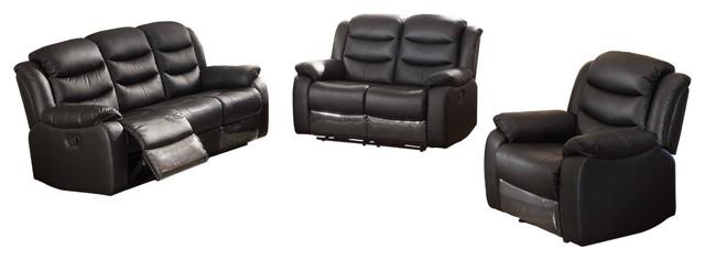 Tremendous Bennett 3 Piece Leather Sofa Set Black Dailytribune Chair Design For Home Dailytribuneorg