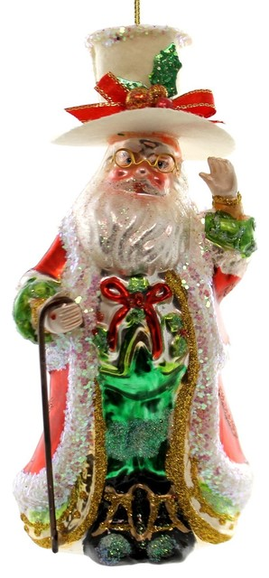 Christmas Top Hat Ornaments.Holiday Ornaments Dinner Santa Ornament Glas Christmas Top Hat Cane 3644036