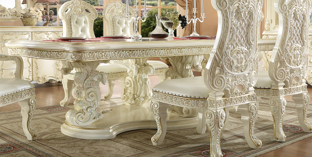 Gold Carved Wooden 7 Piece Dining