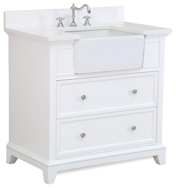 "Sophie 36"" Bathroom Vanity, Base: White, Top: Quartz."