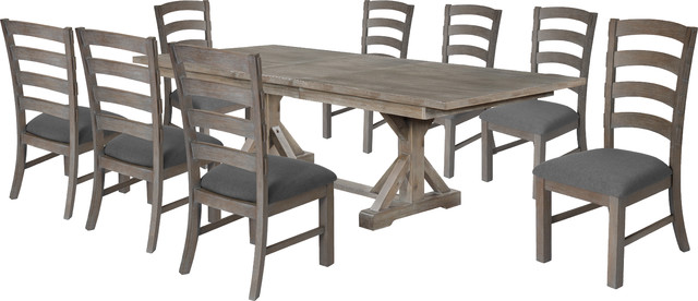 Hudson Weathered 9 Piece Dining Set, Weathered Gray Dining Room Table
